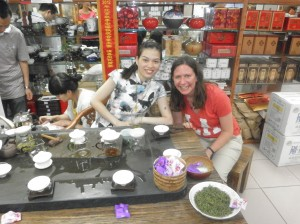 Nina with the tea stand lady.