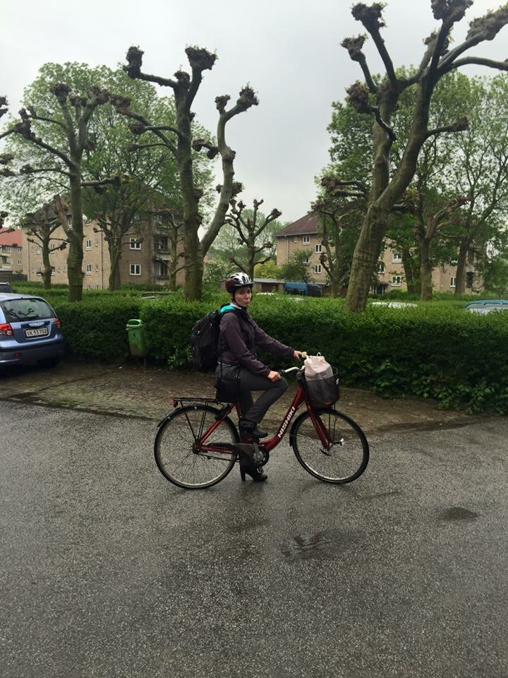 Cycling in heels for the first time...in the rain.