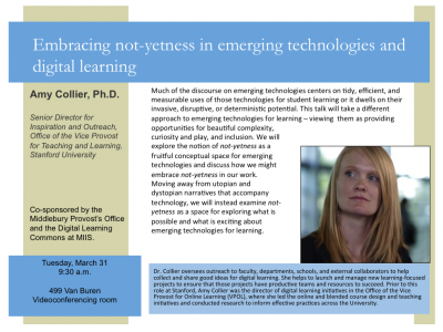 Video conference simulcast of Dr. Amy Collier's talk at Middlebury | Tues, March 31