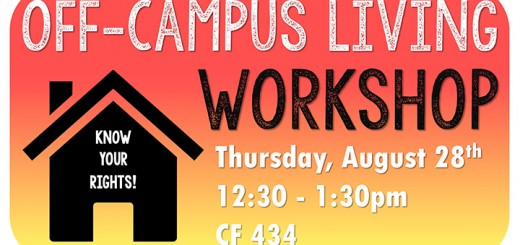 Off-campus Living Workshop, to be held Thursday, 8-28, from 12:30-1:30 in Casa Fuenta 434