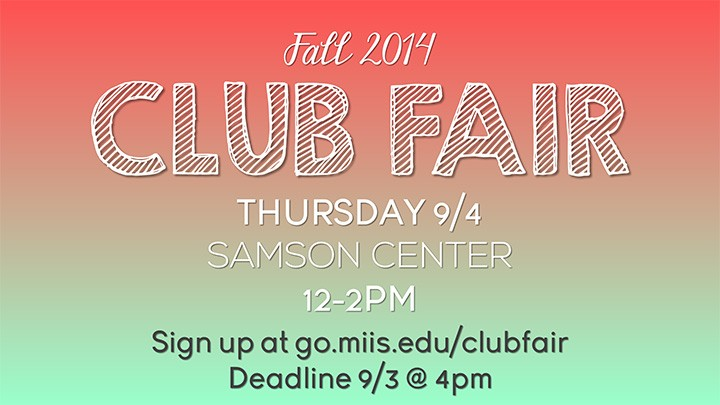 Club Fair to be held 9-4-2014, at Samson Center from 12-2.