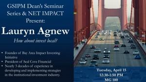 Dean's Seminar Lauryn Agnew