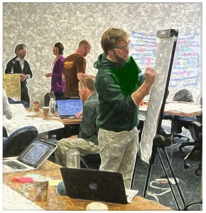 Josh Fleming (MA IPS '15) participates in a facilitation exercise during the second week of DPMI Monterey this June.