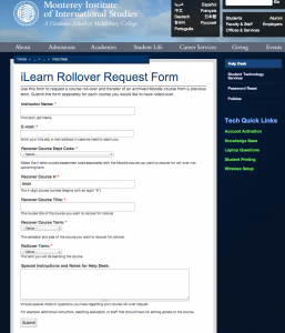 iLearn Rollover Request Form