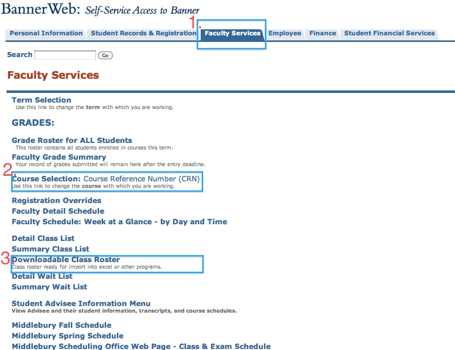 Bannerweb Faculty Services: Download Class Roster
