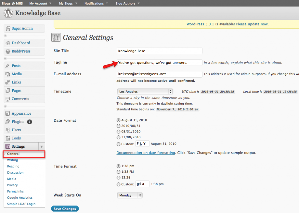 WordPress General Settings menu
