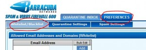 Barracuda Preferences White/Blacklist