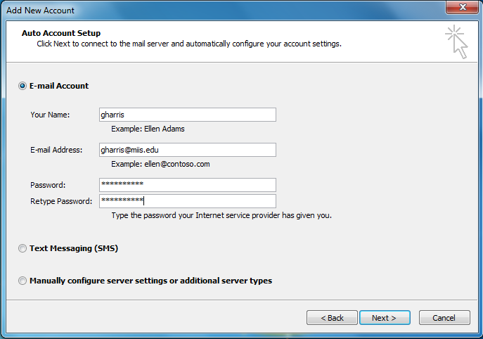 Outlook Auto-config