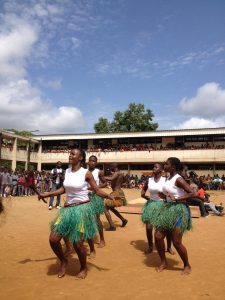 Students dancing the Bafia dance