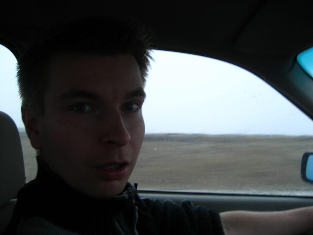Heikki driving through a snowstorm in Lithuania