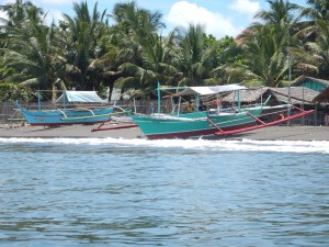 These are typical boats in the Philippines.  We took these boats out, jumped into the water and climbed back in