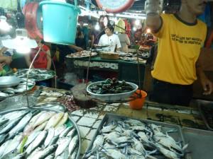 Crowded fish market
