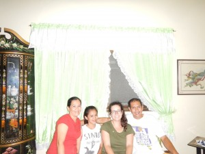 Host Family Photo.  From Left: Ate Jasmin, Jamie (Boneg), Me, Kuya Jun