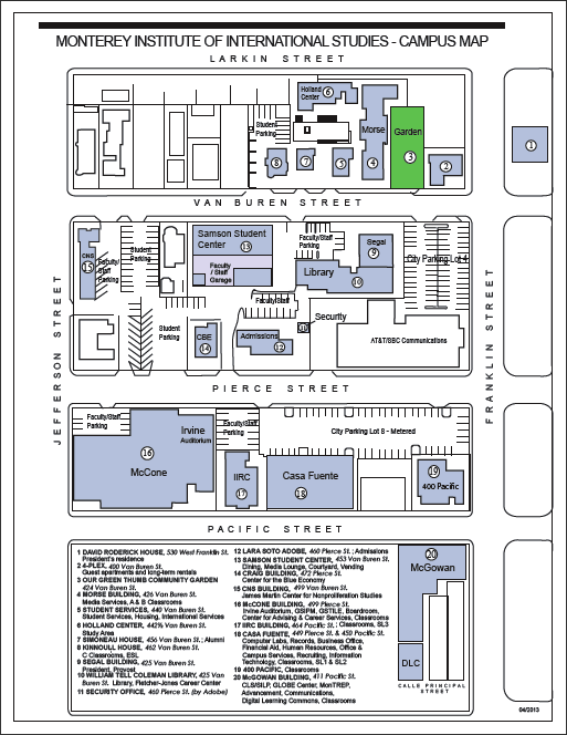 Venue MIIS Campus Map and Parking Monterey Bay Foreign Language