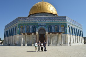 At the Temple Mount, Jerusalem with Peacebuilder Fellows Ally and Lukas and CCS alum, Kirill.