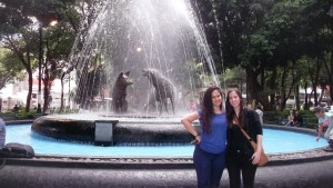 The center of Coyoacan. This is Jessica and me, standing in front of a fountain in a park. The 2 coyotes in the middle of the fountain give the name to this beautiful area, Coyoacan.