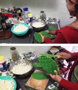 This is Carina, showing and explaining me how to cook the Nopal.
