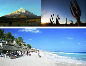 Popocatepetl volcano, the desert of Baja California and the Maya Coast in the Mexican Caribbean.