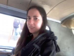 """Ainhoa sitting in the """"Combi"""" (small van)."""