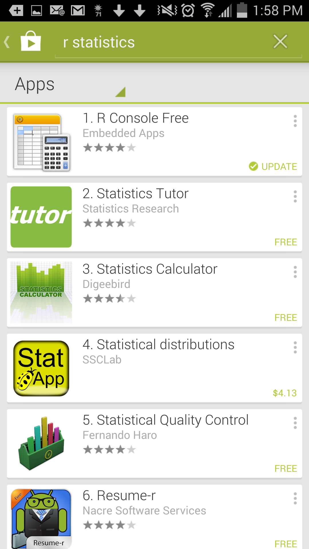 R statistical package for Android - A personal experience of