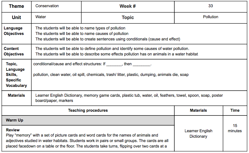 Sample Lesson Plan Water Pollution SONATI English – Lesson Plan Sites