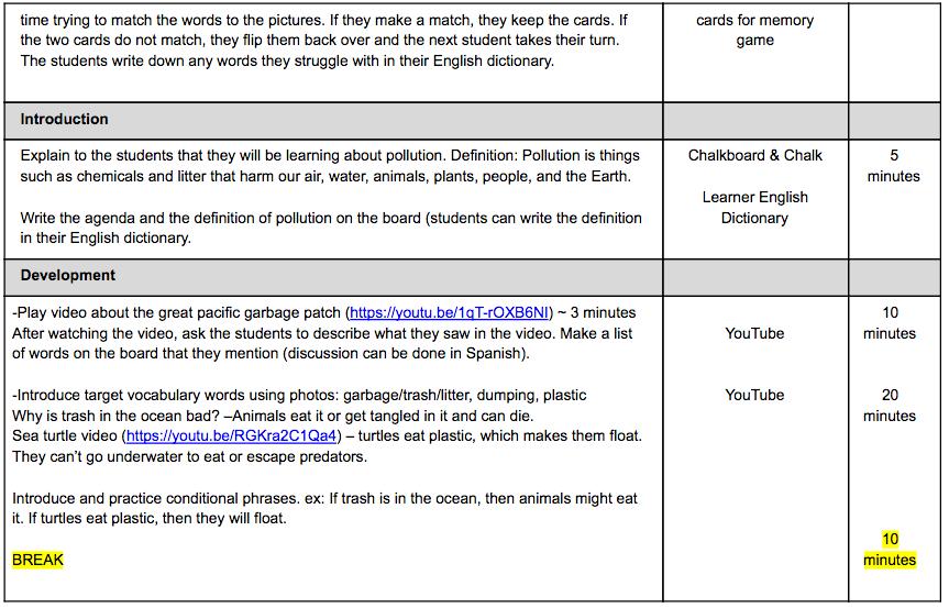 sample lesson plan water pollution sonati english