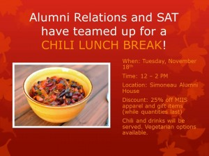 Chili at Alumni Relations