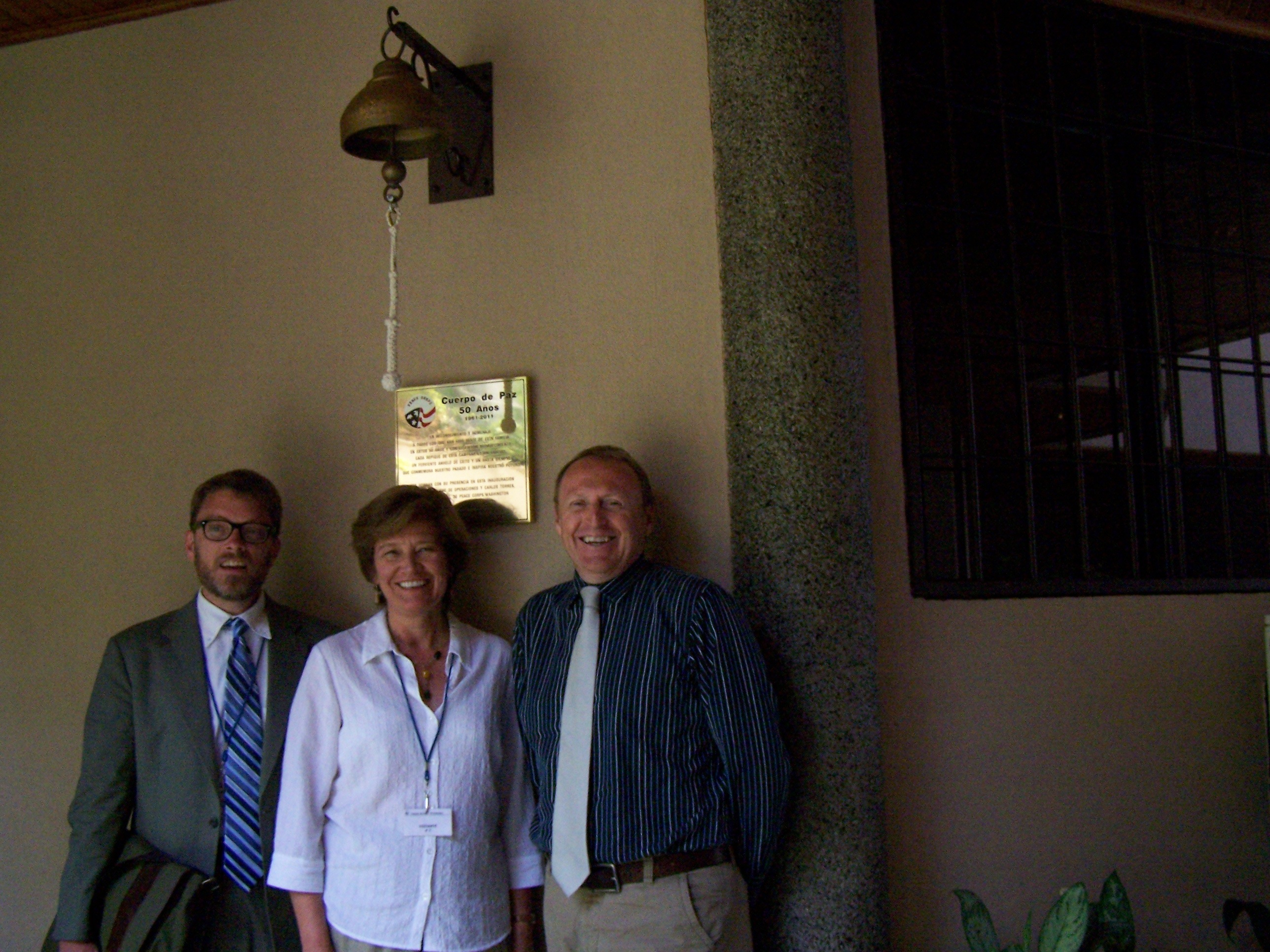 Professors Jeff Dayton Johnson and Adele Negro at Peace Corps headquarters, San Salvador, with Country Director Jaime Kuklinski